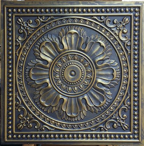 pl17 faux tin ceiling tiles ancient gold color 3d embossed