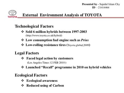 Strategic Management Of Toyota Company Toyota Motor Corporation