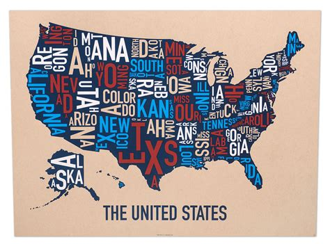 usa map 18 x 24 united states map 24 quot x 18 quot multi color screenprint