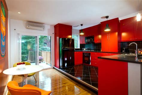 modern kitchen with red cabinets decoist helpful tips for painting cabinets