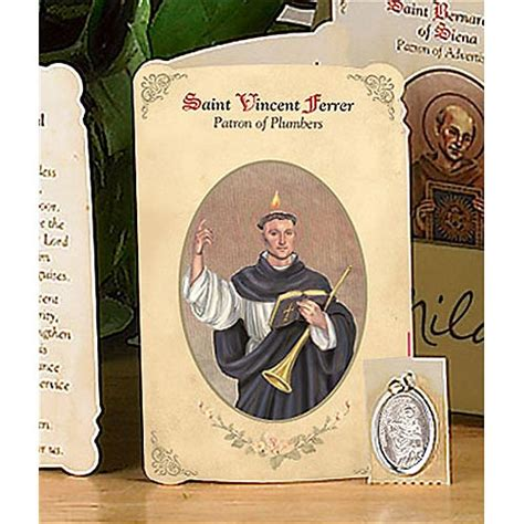 Patron Of Plumbing by St Vincent Ferrer Plumbers Holy Card Medal Catholic