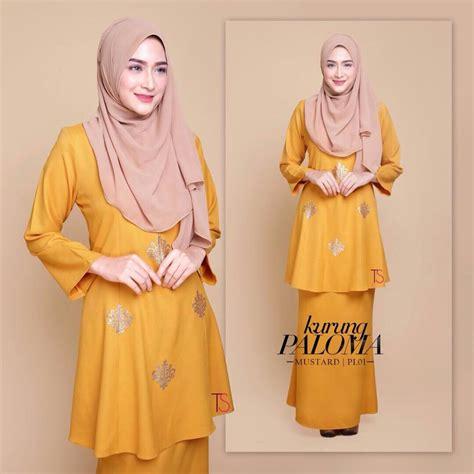 Baju Gamis Warna Mustar tempahan ditutup baju kurung moden crepe sedondon saeeda collections