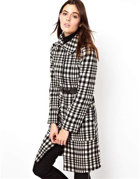 black and white coat pattern asos pattern long line belted coat in white blackwhite