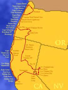 northern california coastline map pch northern ca to or cannon redwood forests