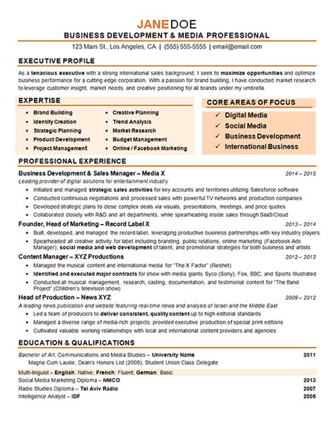 digital resume template digital marketing resume exle
