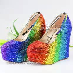 colorful pumps colorful yellow green blue rhinestone wedding wedges