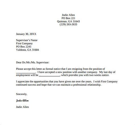 official resignation letter template images