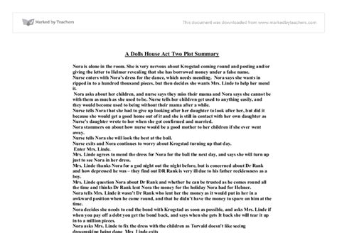 a doll house full text pdf a dolls house act 2 plot summary gcse drama marked by teachers com