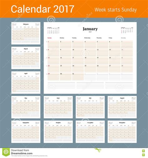 calendar of november in the year 2017 vector illustration
