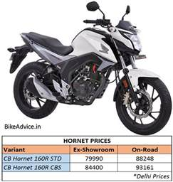 Honda Bike Price In Up Honda Cb Hornet 160r Launched On Road Price Pics Engine