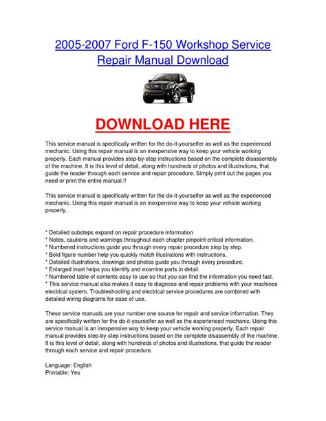 service repair manual free download 2007 ford f150 electronic throttle control 2005 2007 ford f 150 workshop service repair manual download by nissancarrepair issuu