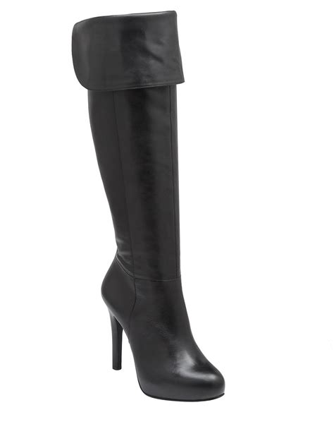 lyst jessica simpson audrey tall leather high heel boots  black