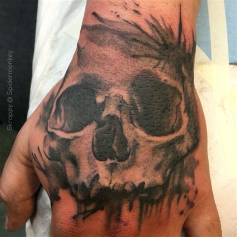 skull on hand tattoo skull skull skrappy