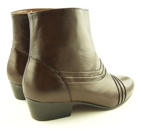 mens tycoons cuban heel brown leather boots sz 6 11 ebay