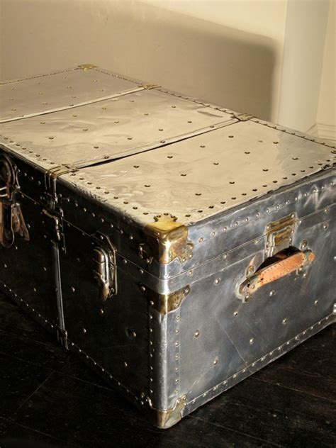 Travel Trunk Coffee Table 1930s Polished Steel Travel Trunk Coffee Table Trunks Leather Crocodile Canvas Metal