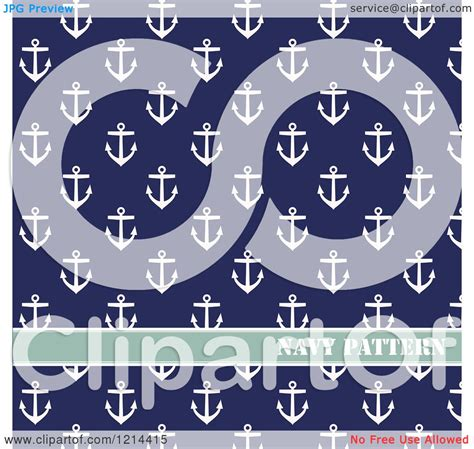 navy pattern vector clipart of a navy pattern of anchors on blue royalty