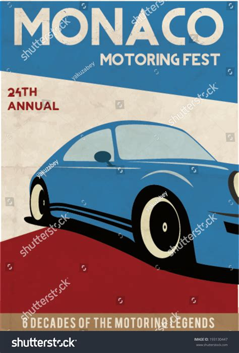 Poster Auto by Vintage Car Poster Design Vector Illustration Stock Vector