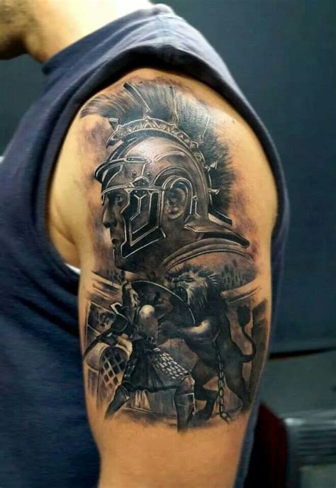 gladiator tattoos gladiator shoulder tattoos
