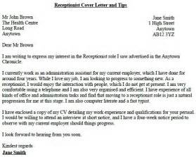 cover letter for a receptionist receptionist application cover letter exle
