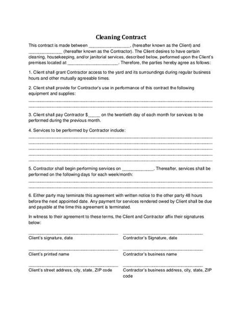 cleaning services agreement template 25 unique cleaning contracts ideas on