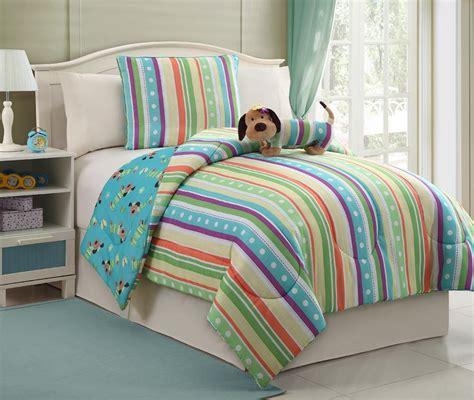 puppy bedding furry friends 3 piece striped girl s puppy size bedding