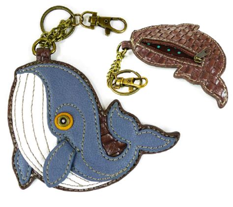 Chala Coin Purse Key Fob chala nautical whale key chain coin purse leather bag fob