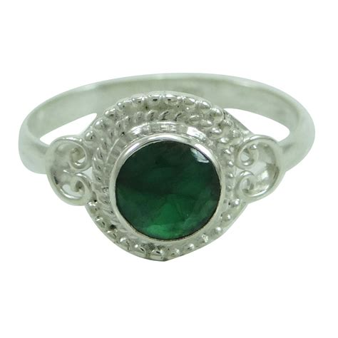 emerald 925 sterling silver ring band us size 7 fashion