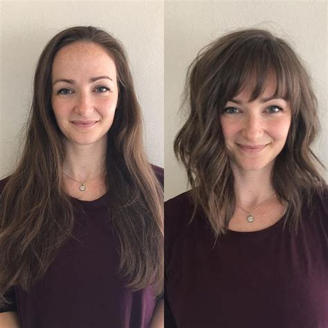 before and after hair styles of faces best 25 lob with bangs ideas on pinterest
