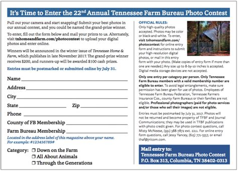 contest form tennessee farm bureau photo contest tennessee home and farm