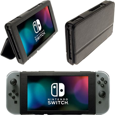 Nintendo Switch Black black folio pu leather flip for nintendo switch cover with foldable stand ebay