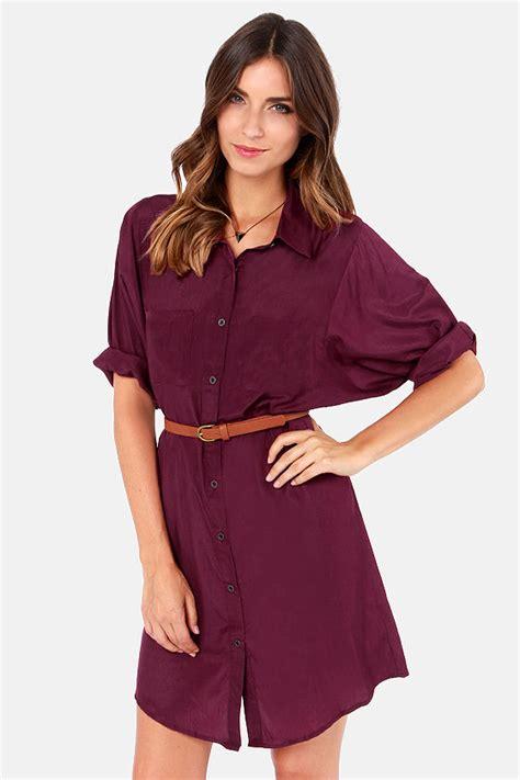 Blouse Dress Maroon burgundy dress shirt dress belted dress 40 00