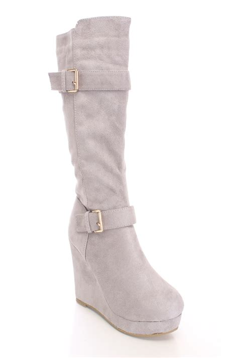 grey mid calf wedge boots faux suede