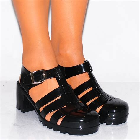 Ban2glosy Jellyshoes Wedges black jelly sandals crafty sandals