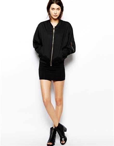 Nerina Black Bomber Jacket cheap monday bomber jacket in black lyst