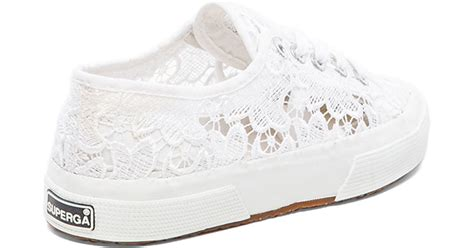 white lace sneakers lyst superga lace lace up sneakers in white