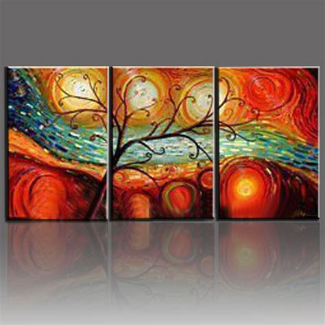 oil painting on 3 piece cheap modern paintings for living tree landscape oil paintings hand painted on canvas 3