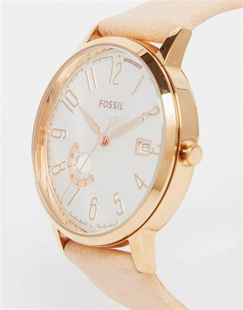 Fossil Rose Gold Vintage Muse Leather Watch in Metallic   Lyst