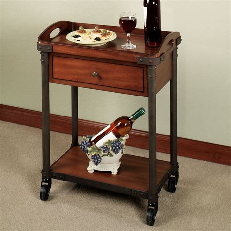 dining room serving carts levanzo rolling serving cart with tray and wgx indoor or