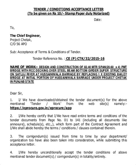 Sle Of Acceptance Letter For A Tender 33 Acceptance Letters In Pdf