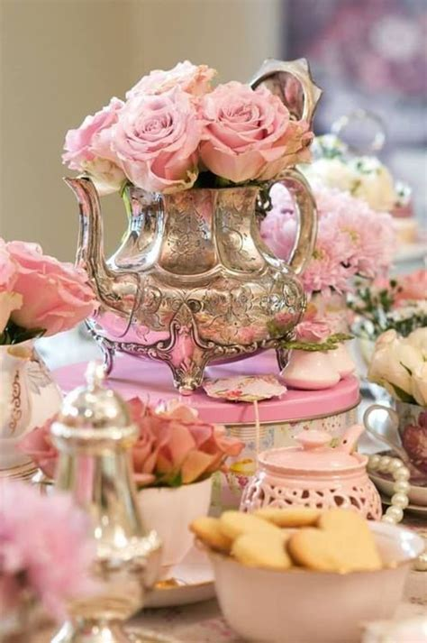 Beautiful Pink & Silver Tea Party Pictures, Photos, and