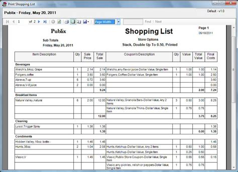 printable shopping list with coupons extreme couponing shopping list spreadsheet 2017 2018