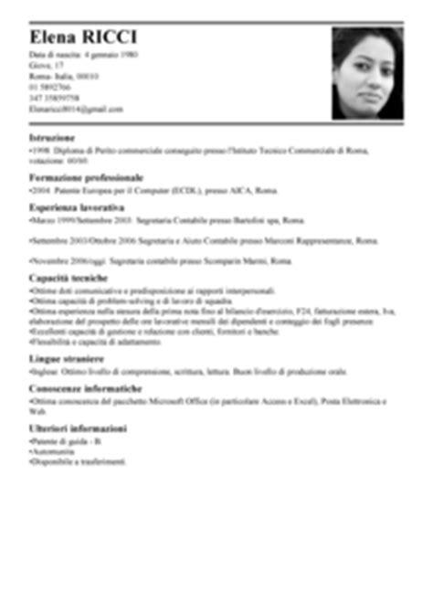 addetto ufficio legale modello curriculum vitae segretaria contabile esempio cv