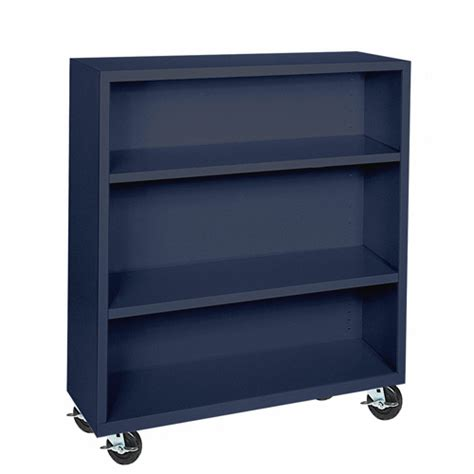bm20 361842 a6 elite welded mobile bookcases navy blue