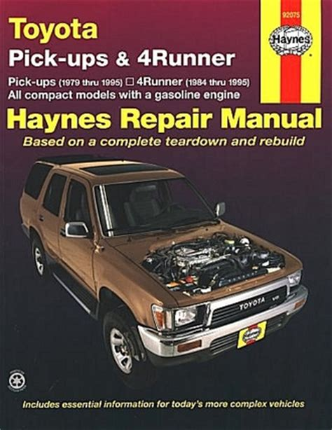old cars and repair manuals free 1995 toyota previa transmission control toyota pickups 4runner repair manual 1979 1995 haynes 92075