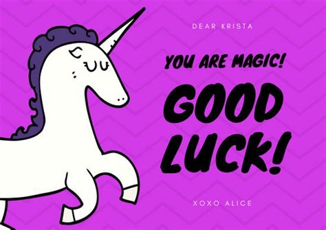 free printable luck card template purple unicorn luck card templates by canva