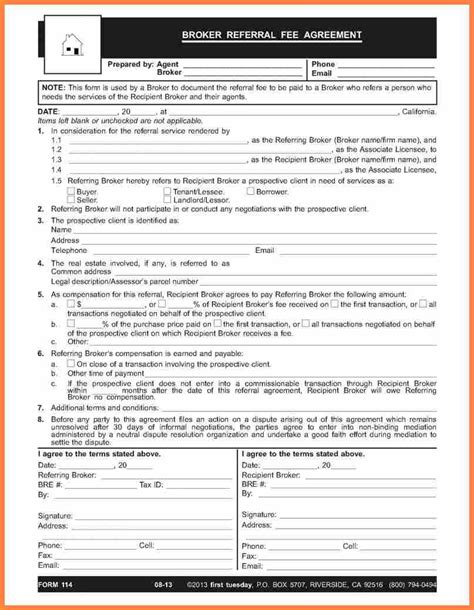 finders fee agreement template 6 real estate finders fee agreement template purchase