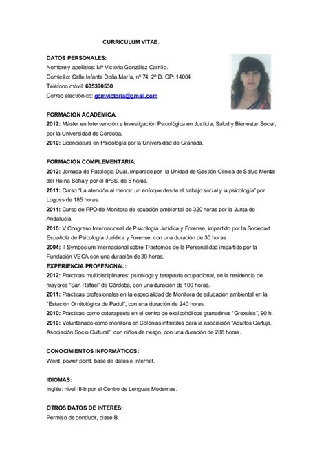 Modelo Curriculum Vitae Psicologo Clinico Curriculum Vitae