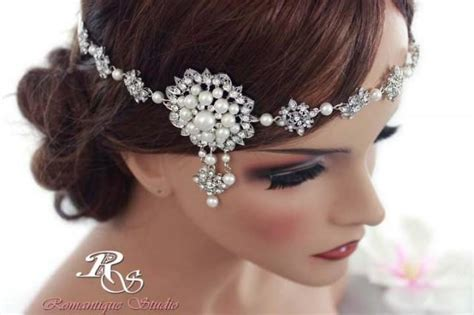 Vintage Wedding Hairstyles With A Headband by Wedding Headband Bridal Headband Vintage Deco