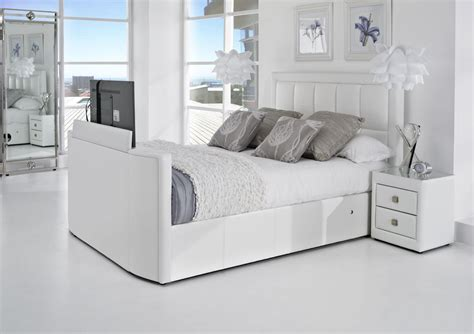 The Bed by White Leather Tv Bed Leather Kingsize Tv Beds The Azure