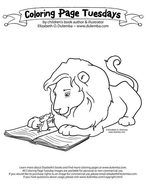 coloring pages lion and mouse dulemba coloring page tuesday lion and mouse